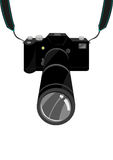 Uma câmera reflexo do filme caro de SLR da única ou lente DSLR de Digitas com correia e lente zoom Clipart editável ilustração royalty free