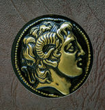 Uma cópia da moeda do grego clássico, Alexander de Macedon, ó centavo imagem de stock