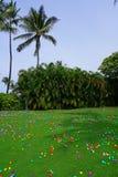 Uma caça do ovo da páscoa com ovos plásticos em um gramado verde imagens de stock royalty free