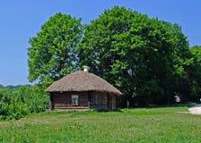 Uma cabana com um telhado cobrido com sapê fotografia de stock royalty free