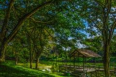 Uma cabana pelo lago Foto de Stock