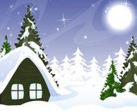 Uma cabana pequena coberta com a neve Fotos de Stock