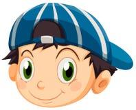 Uma cabeça de um menino novo com um tampão ilustração do vetor