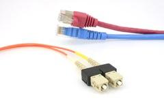 Uma cabeça do patchcord da fibra ótica Fotografia de Stock Royalty Free