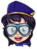Uma cabeça de uma aeromoça de ar Fotos de Stock Royalty Free