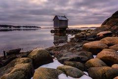 Uma cabine na costa oeste de gothenburg, Suécia, 2018 Fotografia de Stock Royalty Free