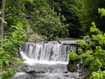 Uma cachoeira pequena no rio da montanha Fotos de Stock Royalty Free
