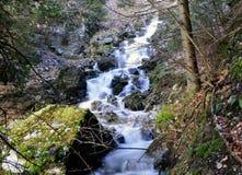 Uma cachoeira que tenha a textura lisa de seda que cai de uma altura foto de stock