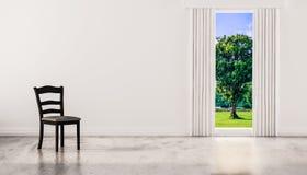 Uma cadeira no assoalho lustrado concreto com janela e uma opinião natural da árvore na parede branca, 3d rendido ilustração royalty free