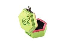 Uma caixa de jóia pintada verde aberta Imagens de Stock Royalty Free