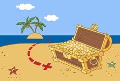 Uma caixa de moedas de ouro Imagem de Stock