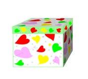 Uma caixa de presente bonita com corações Foto de Stock