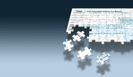 Uma caixa postal dos E S Da renda o formulário 1040 de imposto federal é considerado como um enigma de serra de vaivém com partes ilustração stock