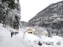 Uma calha da caminhada as florestas nevados de Hallstatt, Áustria Opinião do inverno da parte superior foto de stock royalty free