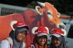 Uma campanha 'ao sacrifício' antes da celebração de Eid Al-Adha em Indonésia Imagem de Stock