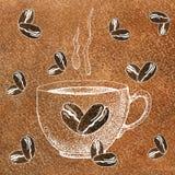 Uma caneca do copo de caf? da bebida, de ch?, etc. quentes E feij?es de caf? Ilustra??o com um fundo da aquarela para o projeto ilustração royalty free