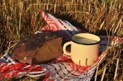 Uma caneca rústica do metal de leite e de um meio naco do pão de centeio Imagem de Stock