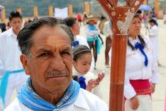 Uma cara do ancião de um grupo de dançarinos em México Foto de Stock