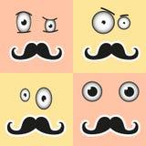 Uma cara surpreendida com um bigode e os olhos no vetor EPS ilustração do vetor