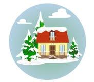 Uma casa acolhedor na neve entre abetos cobertos de neve ao estilo do plano Ilustração Stock