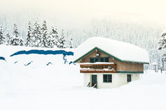 Uma casa coberta com a neve grossa no telhado com fundo da floresta da neve Imagem de Stock