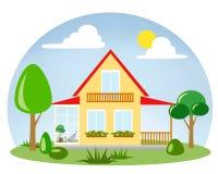 Uma casa com um terraço envidraçado foto de stock royalty free