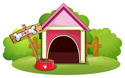 Uma casa de cachorro de madeira na jarda ilustração royalty free