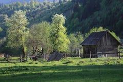Uma casa de madeira bucólica nos Carpathians fotografia de stock royalty free