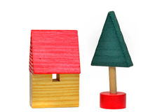 Uma casa de madeira do brinquedo Fotos de Stock