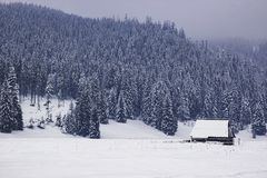 Uma casa de madeira só está em um vale nevado, uma montanha no th fotografia de stock royalty free