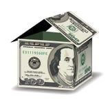 Uma casa feita fora de 100 notas de dólar Fotografia de Stock Royalty Free