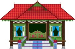 Uma casa malaio de madeira tradicional bonita da vila do estilo