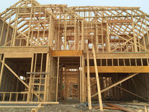 Uma casa nova grande sob a construção Fotografia de Stock