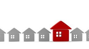 Uma casa original vermelha que está para fora da multidão Imagens de Stock