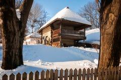 Uma casa rústica no inverno com um gato do animal de estimação fora no frio Imagem de Stock Royalty Free