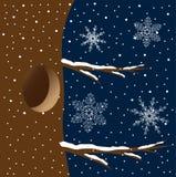 Uma cavidade em uma árvore no céu noturno ilustração do vetor
