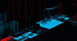 Uma cena das linhas do fio que fazem torres e testes padrões de comunicação ilustração do vetor
