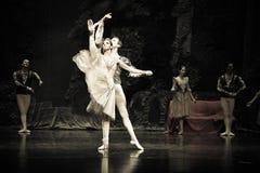 Uma cena do bailado O Lago das Cisnes foto de stock