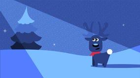 Uma cena do inverno da noite com um cervo no luar Foto de Stock Royalty Free