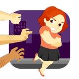 Assalto de escape da mulher ilustração royalty free