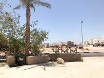 Uma cerca com decoração de estrelas de david e de palmeiras na perspectiva das construções brancas e estradas no islâmico islâmic fotografia de stock