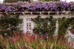 Uma cerca floral Laden Wit Flowers foto de stock royalty free