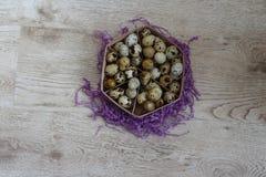 Uma cesta com suportes de ovos das codorniz em uma decoração violeta fotografia de stock royalty free