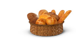 Uma cesta do pão branco e dos rolos rendição 3d Foto de Stock