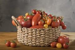 Uma cesta dos tomates Fotografia de Stock Royalty Free