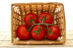 Uma cesta dos tomates com um ramo no branco Imagem de Stock