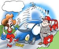 Uma chamada do proprietário de carro para o auxílio da borda da estrada Foto de Stock