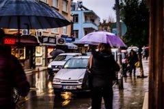 Uma cidade do verão em um dia chuvoso Imagem de Stock Royalty Free