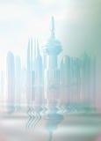 Uma cidade futurista na névoa. Imagens de Stock Royalty Free