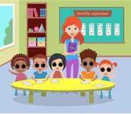 Uma classe especial de crianças cegas com vidros Foto de Stock Royalty Free